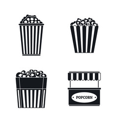 popcorn cinema box striped icons set simple style vector image
