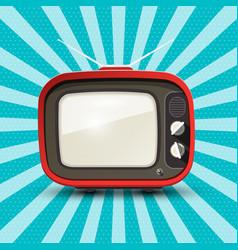 Red retro tv on blue vintage background vector