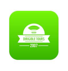 Retro dirigible icon green vector