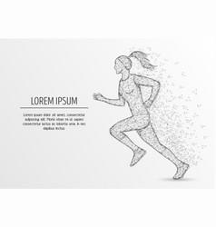 Running girl polygonal art style vector