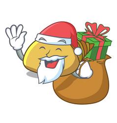 Santa with gift mollusk shell mascot cartoon vector