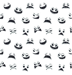 seamless pattern with cartoon scary ghost faces on vector image