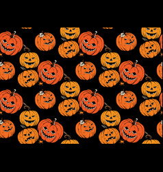 Seamless pattern with halloween pumpkins vector