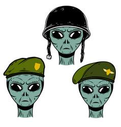 Set alien soldier in battle helmet and vector
