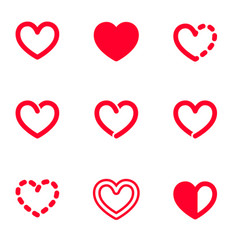 Set of bold line graphic heart symbols vector