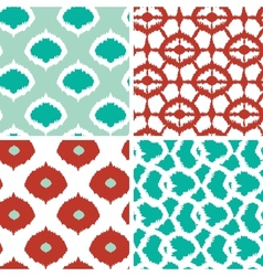 Set of green and red ikat geometric seamless vector