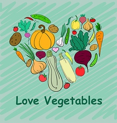 Set of vegetables hand-drawn in the form heart for vector image