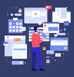Socila media monitor tools vector
