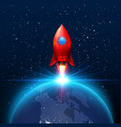 space red rocket launch creative art vector image
