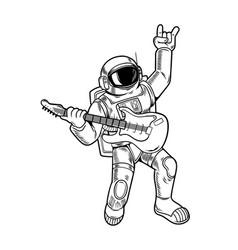 Spaceman rock star play on guitar vector