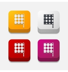 Square button linesman flag vector