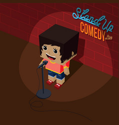 Stand up comedy open mic female comic onstage vector