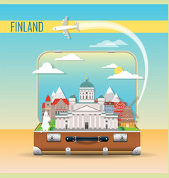 suitcase with landmarks finland vector image