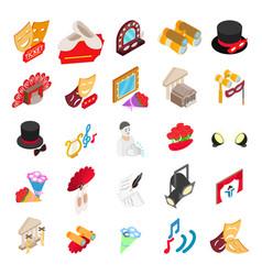 Theatre icons set isometric style vector