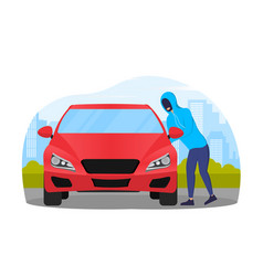 Thief in black mask stealing red car vector