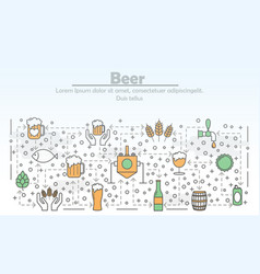 thin line art beer poster banner template vector image