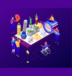 Traveling mobile app - colorful isometric vector