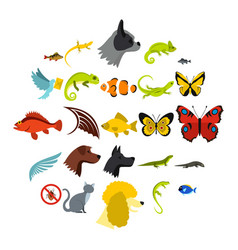 Tropical animals icons set flat style vector