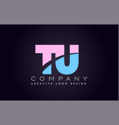 tu alphabet letter join joined letter logo design vector image