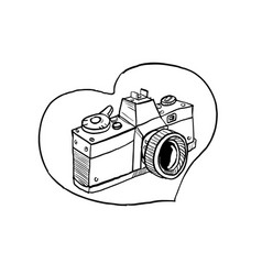 Vintage 35mm slr camera heart drawing vector