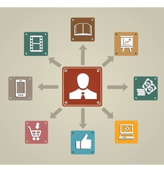 Vintage concept of business with icons vector image