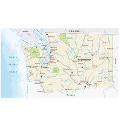 washington state road and national park map vector image