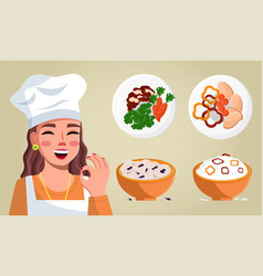 woman in cook clothes and a cap makes ok gesture vector image