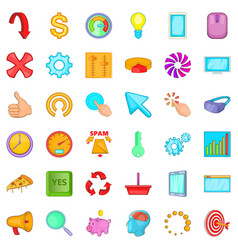work diagram icons set cartoon style vector image