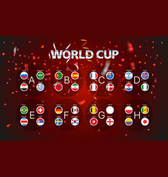 World cup groups layout with confetti vector