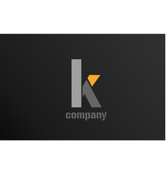 Yellow grey letter k alphabet logo design icon vector