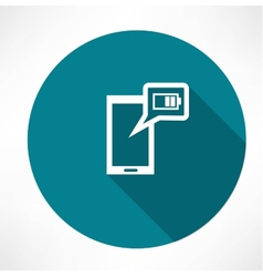 battery icon on the smartphone vector image vector image