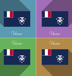 Flags French and Antarcic Set of colors flat vector image