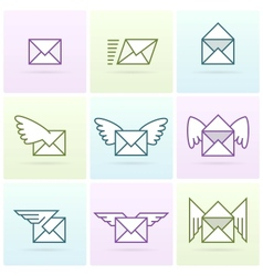 Flying email messages icon set vector image vector image