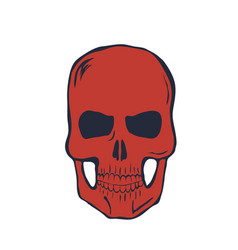 red skull on white background vector image vector image