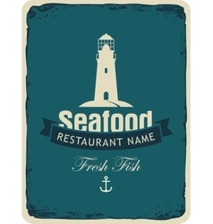 seafood restaurant with a lighthouse vector image vector image