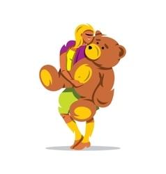 Woman with Teddy Bear Cartoon vector image