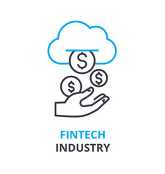 fintech industry concept outline icon linear vector image vector image