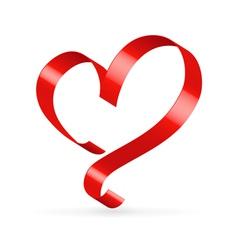 Red satin ribbon heart vector image vector image