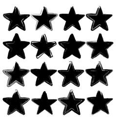set of sixteen grunge stars vector image