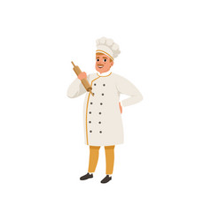 cheerful baker character in uniform holding vector image
