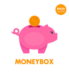 moneybox icon on white vector image vector image