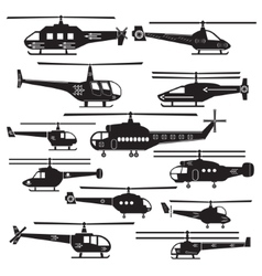 Set icons of helicopters isolated on white vector image