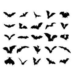 Bats silhouettes set vector image vector image