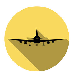 flying plane sign front view flat black vector image vector image