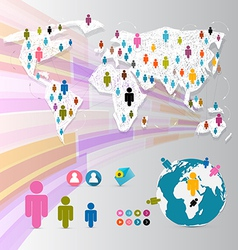 People on Paper World Map - Social Media vector image