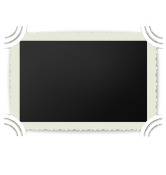 Retro photo frame with figured edges in photoalbum vector image