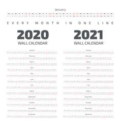 2020-2021 wall calendar vector
