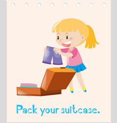 Action wordcard with girl packing bag vector