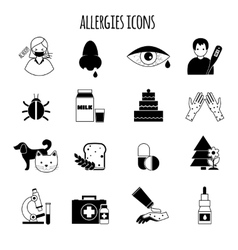 Allergies Icons Black vector