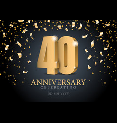 anniversary 40 gold 3d numbers vector image